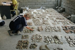 Mette Thuesen working on pottery.