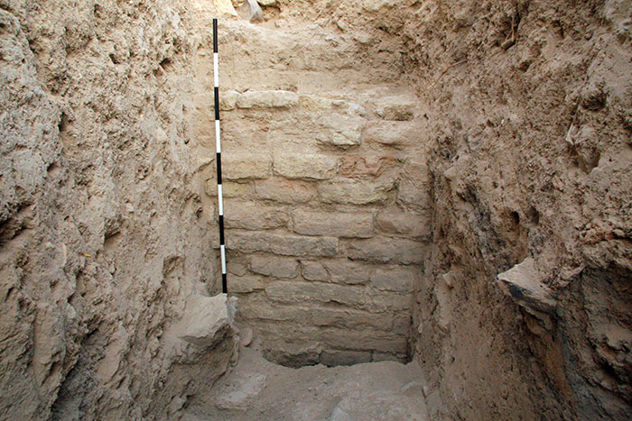 Lower Town South, deep trench, view of Middle Islamic baked brick wall.