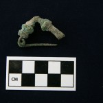 Bronze fibula from burial.