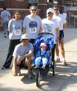 Coaches vs cancer 5K, with Maryanne, April 2004