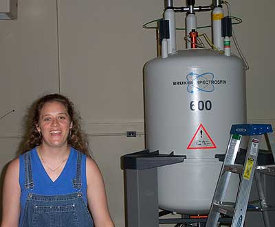 Jane by the 600 MHz spectrometer in the old PSU building, Chandlee