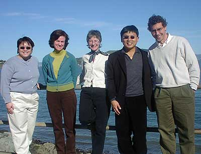 Biophysical Society Meeting, February 2002 in San Francisco, California. (left to right) Christie, Melanie, Juliette, Yung-Hsiang, and Chris