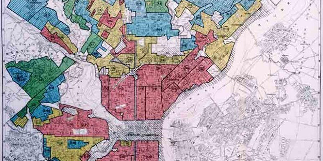 An image from a redlining map