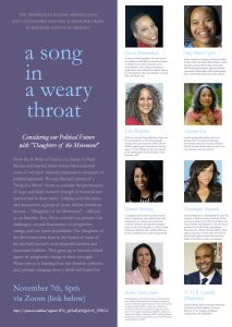 """Panel: """"Daughters of the Movement"""": a song in a weary throat, 11/7"""