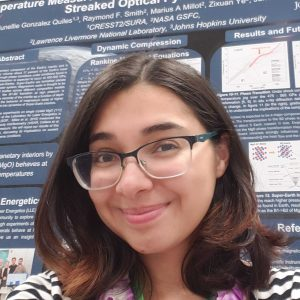 """Junellie Gonzalez Quiles in front of her poster, entitled """"Temperature Measurements of the MgO [111] Hugoniot using Streaked Optical Pyrometry"""", at the 2019 SACNAS conference in Honolulu, HI."""
