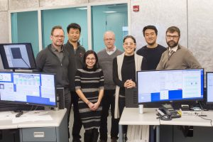 (left to right): Physics R. Smith (LLNL), Donghoon Kim (Princeton), Junellie Gonzalez Quiles (U. Maryland), Tom Duffy (Princeton), June Wicks (Johns Hopkins), Sirus Han (Princeton), David Canning (LLE), at the OMEGA EP Laser System of the Laboratory for Laser Energetics (LLE), University of Rochester, NY. Crystal Structure of Planetary Building Blocks campaign, April 1, 2018