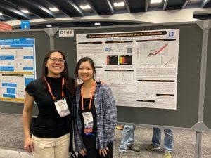 June Wicks (left) and Zixuan Ye (right) at the Fall 2019 AGU Meeting, San Francisco, CA